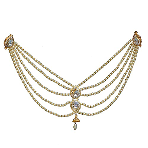 373ea71330c2a8 Buy Shourya Exports Designer White Color Gold Plated Saree Sari Pearl  Blouse Back Brooch Pin Accessories Jewelry for Girls & Women Online at Low  Prices in ...