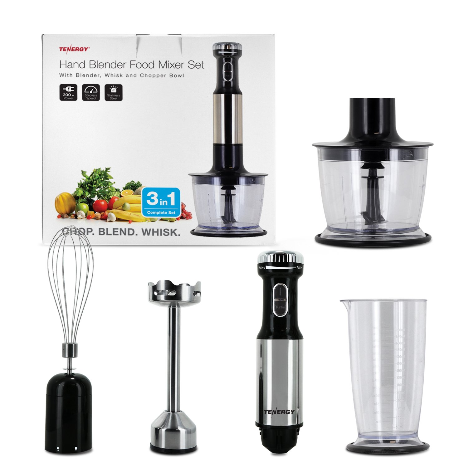 Tenergy Immersion Blender, 200W Multi-Speed Food Mixer Set with Stainless Steel Hand Blender, Chopper, Whisk, Beaker Attachment for Soup, Sauce, Baby Food, Purée and Emulsify by Tenergy (Image #8)
