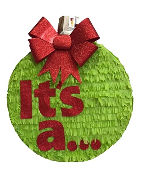 Christmas Gender Reveal Theme.Apinata4u It S A Christmas Gender Reveal Pinata 16 Red Bow Pull Strings Style