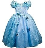 Domiray New Cinderella Dress Princess Costume Blue Butterfly Girl Dress (4T-4, Blue)