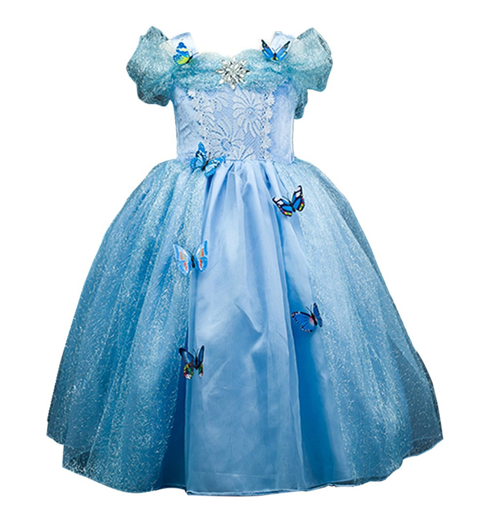Domiray New Cinderella Dress Princess Costume Blue Butterfly Girl Dress (6-7 Years, Blue)