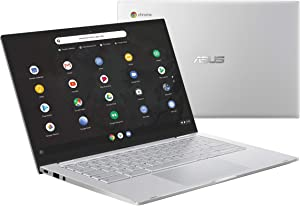 "Asus Chromebook C425 Clamshell Laptop, 14"" FHD 4-Way NanoEdge, Intel Core M3-8100Y Processor, 8GB RAM, 64GB eMMC Storage, Backlit KB, Silver, Chrome OS, C425TA-DH384 (Renewed)"