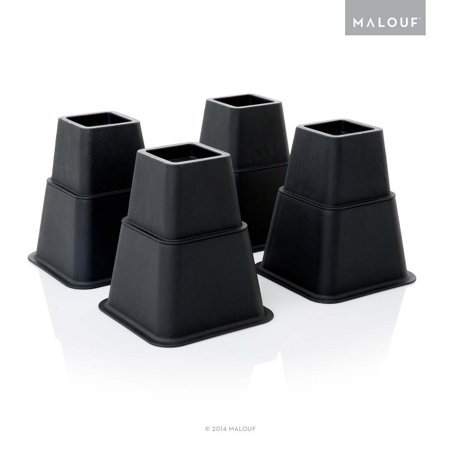 MALOUF Structures Heavy Duty Multi Height Bed Risers - 8 Piece Set - Adjustable to 8, 5 or 3 Inch Heights
