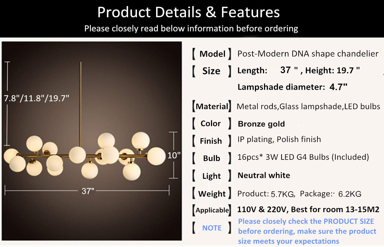 Fandian Post-Modern Chandelier 16 Round Glasses LED Ceiling Light Pendant, DNA Shape with G4 LED Bulbs (Bronze Gold (4.7'' Lampshade)) by Fandian (Image #3)