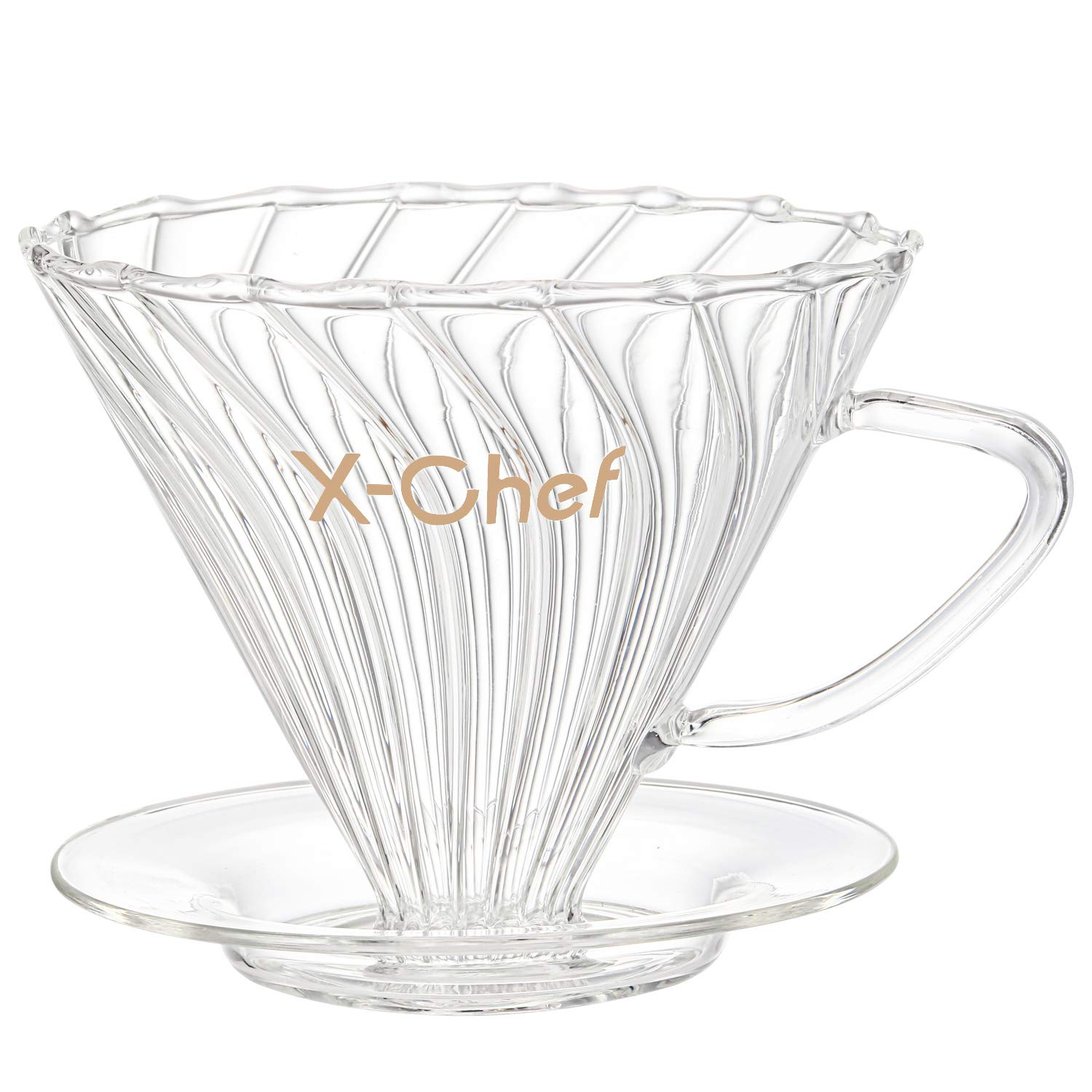 X-Chef Glass Coffee Dripper, Pour-Over Coffee Cone Filter Brewer, 1-2 Cups, White by X-Chef