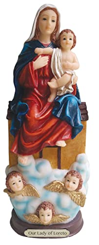 Our Lady of Loreto Statue Lady Sitting on the House 12 Inch