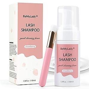 Eyelash Extension Shampoo Cleaner Solution 100ml - False Eyelash Cleaning Kit Lash Eyelid Foam Cleanser Wash for Lash Oil & Dust, Salon and Home Use Gentle Formula Eye Makeup Remover