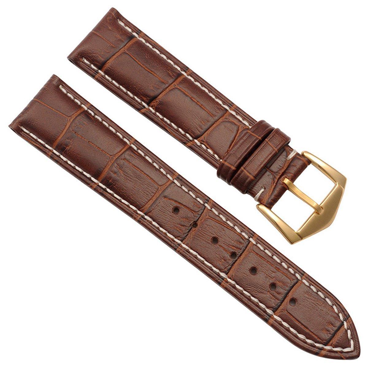 交換用の腕時計ベルト 本革 ステンレスメタル製の中留付き 22mm White Stitch/Brown 22mm White Stitch/Brown White Stitch/Brown 22mm B01G510OF8