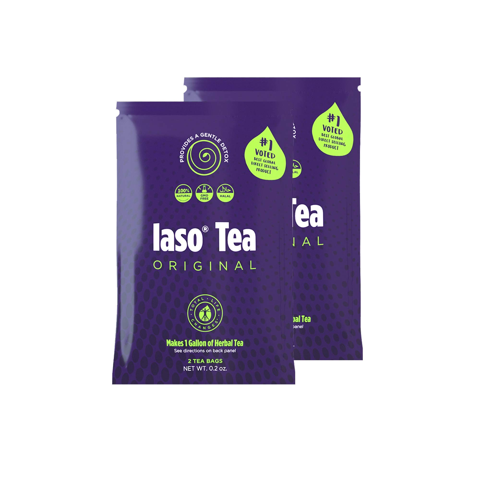 TLC Total Life Changes IASO Natural Herbal Detox Tea Bags - Double Pack (4 Tea Bags) Packaging May Vary Between Old & New in 2019 by Total Life Changes