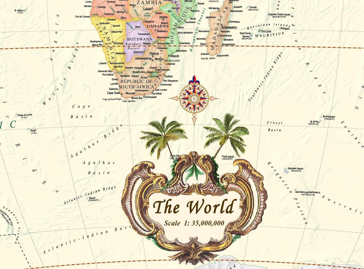 Antique Style World Wall Map (Wall Map, Laminated) (Illustrated World Map) (Map) by Akros (Image #4)