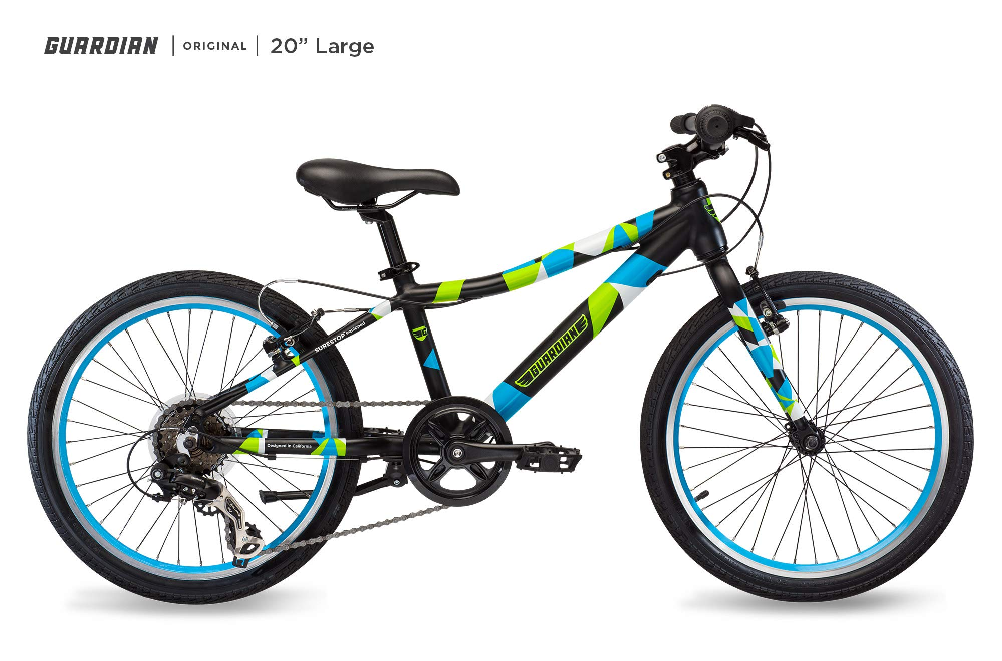 Guardian Lightweight Kids Bike 20 Inch, Safe Patented SureStop Brake System, Kids Mountain Bike, Bike Sizes for Kids 3' 9'' - 4' 5'', Boys Bikes and Girls Bikes