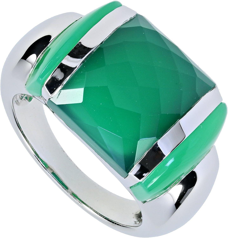 LaLuna Bague design pour femme En argent Sterling 925 rhodi/é avec calc/édoine//agate verte