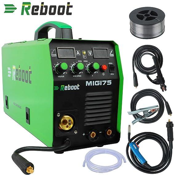 Soldador MIG REBOOT MIG175 de gas y sin gas DC 220 V Inverter dispositivo de soldadura MMA MIG MAG IGBT: Amazon.es: Bricolaje y herramientas