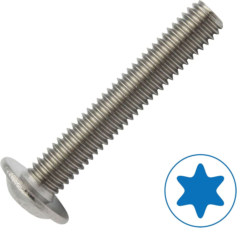 20 tornillos de cabeza plana con brida seg/ún ISO 7380-2 TX de acero inoxidable A2.