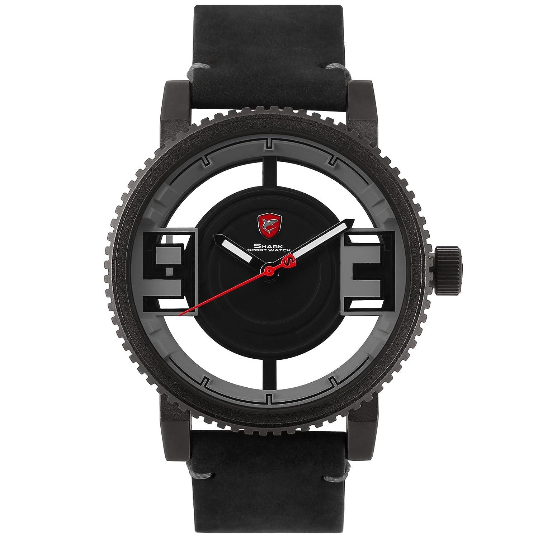Shark SH455 Reloj Dial y Números en Hueco de Cuero de Caballo Loco Negro: Amazon.es: Relojes
