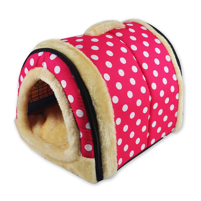 Tb_koop - Cojín desmontable para caseta de mascotas (1 unidad) medium Pink Wave Point M: Amazon.es: Productos para mascotas