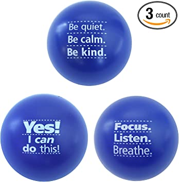 Teacher Peach Motivational Stress Ball Assortment, 3 Pack, Stress Relief Toys for Kids and Adults (6 Colors Available)