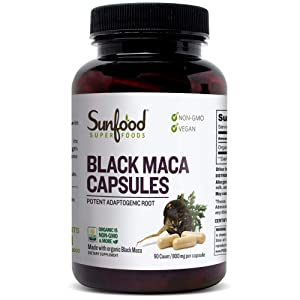 Sunfood Superfoods Black Maca Capsules Organic 90ct 800 mg