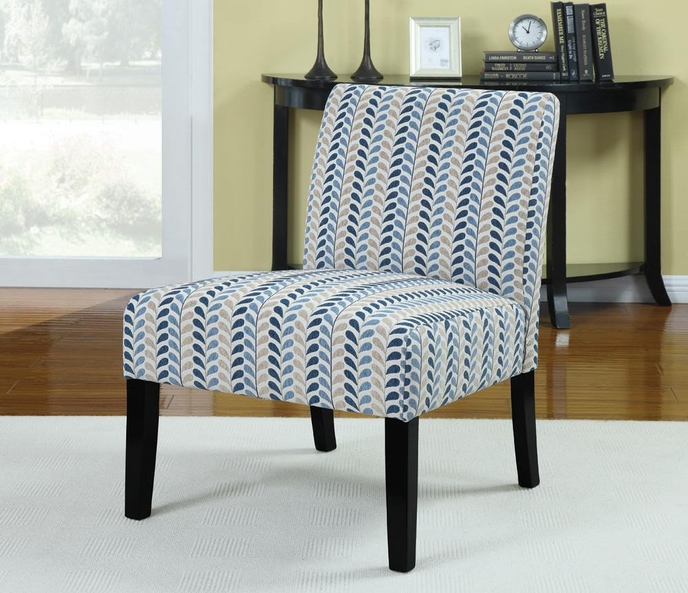 Amazon com coaster home furnishings 902059 contemporary leaf armless accent chair blue and beige by coaster home furnishings kitchen dining