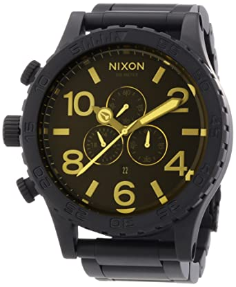 6a3850584f1 Amazon.com  Nixon 51-30 Chrono Watch - Men s Matte Black Orange Tint ...
