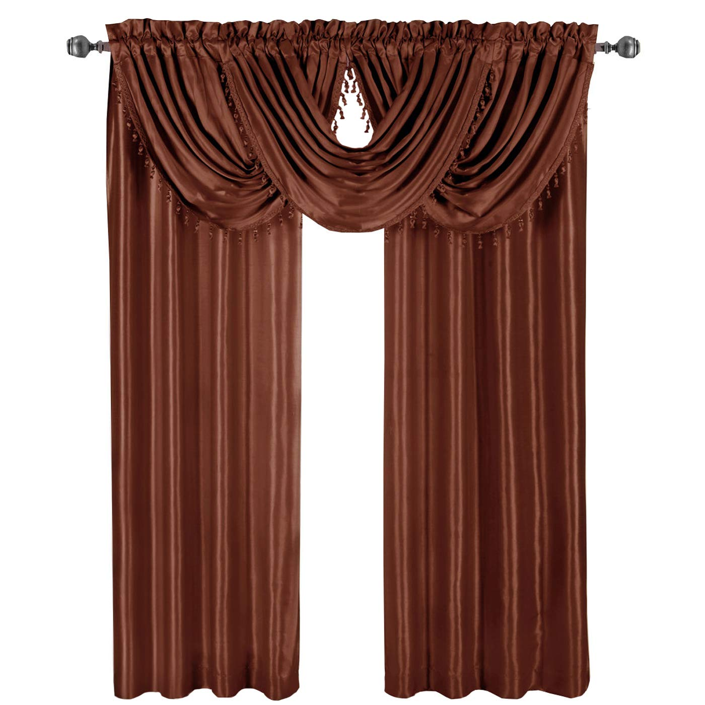 Luxury Soho Rust Waterfall Valance, Solid Pattern, 57x37 inches, by Royal Hotel