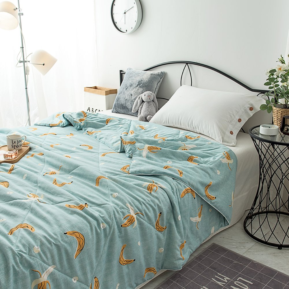 Enjoylife Printed Patterns 1-Piece Thin Quilt 100% Washed Cotton Summer Comforter Washable 150x200 cm Bedspread Banana-Blue