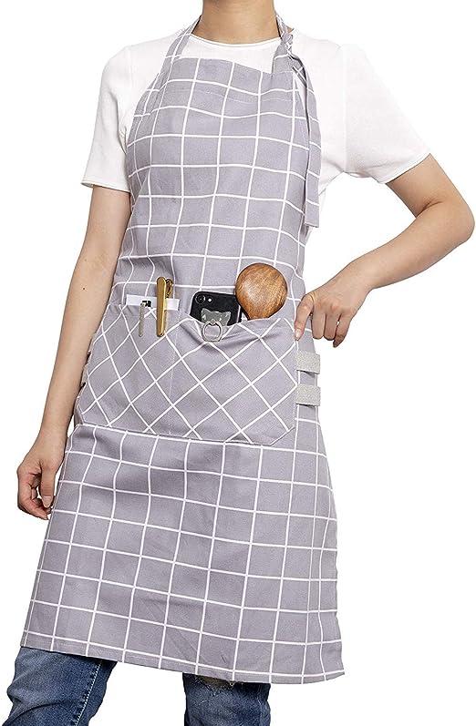 Xiabing - Delantal de algodón para mujer con bolsillos frontales ...