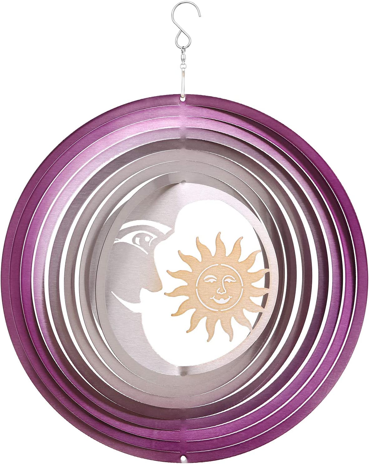 Wind Spinners Outdoor Metal Large,Sun Moon Spinner Garden Decor,3D Kinetic Wind Spinners Hanging for Yard Patio,12inch Stainless Steel Spinner Art Ornaments,Purple Wind Sculptures & Spinners Presents