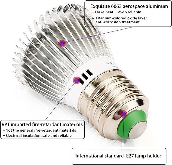 Derlights Led Grow bombilla, E27 40W de repuesto espectro completo ...