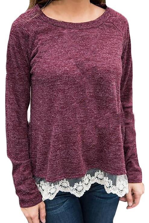 4c1e06b33c5a1f Jaycargogo Womens Hem Stitching Lace Long-sleeved T-shirt at Amazon Women s  Clothing store