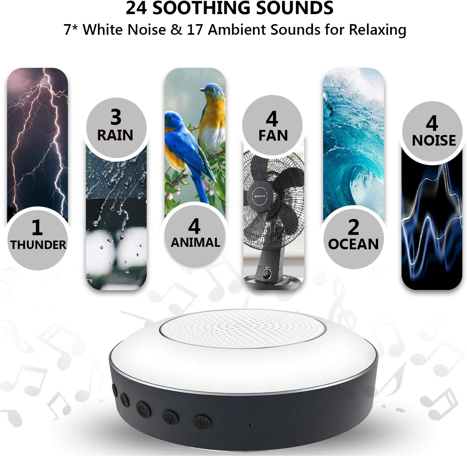 Memory Function for Home Office DIY Recording Sound Machine and Baby Night Light with 24 Soothing Sounds White Noise Machine for Sleeping Baby Adults Kids Timer Baby Sound Machine Travel Hotel