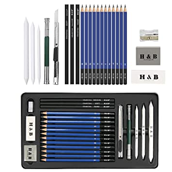 48 ST/ÜCKE Professionelle Skizzieren Zeichnung Kit HB Malerei Bleistifte Set in Rei/ßverschlusstasche f/ür Erwachsene und Kinder