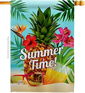 "Angeleno Heritage H137057 Summer Beach Time Fun in The Sun Decorative Vertical House Flag, 28"" x 40"", Multicolor"