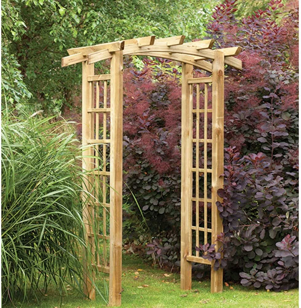 Ryeford lazo Top Pergola estilo madera jardín arco Trellis: Amazon ...