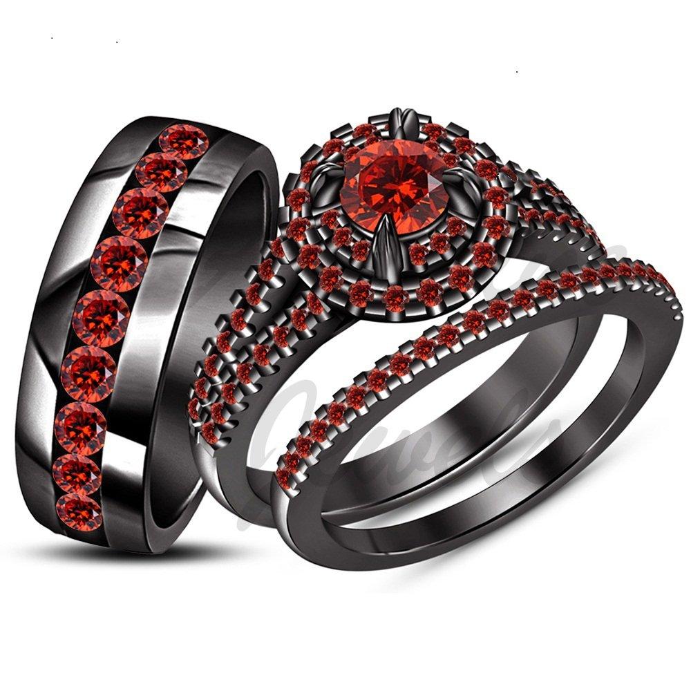 ArtLine Jewels 2.40 Carat Round Cut Red Garnet in 14K Black Gold Finish His & Her Trio Ring Set by ArtLine Jewels