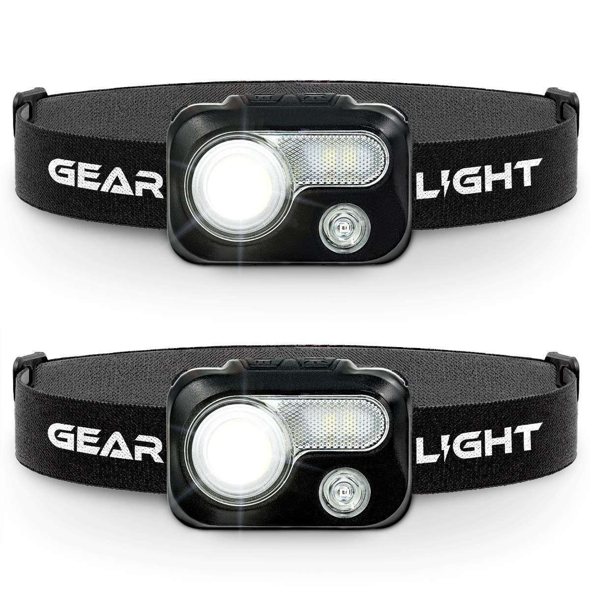 GearLight LED Headlamp Flashlight V500 [2 PACK] - Running, Camping, and Reading Head Lamp/Headlight - Perfect Headlamps with Red Light for Adults and Kids by GearLight