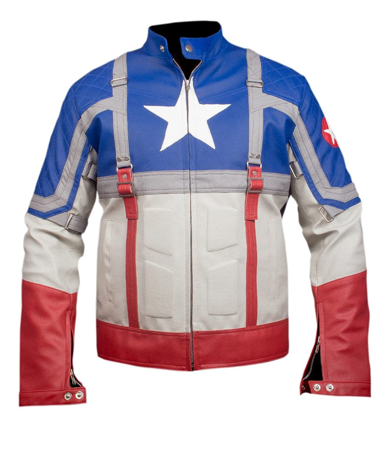 Men's The First Avengers: Captain America Genuine Leather Jacket - DeluxeAdultCostumes.com