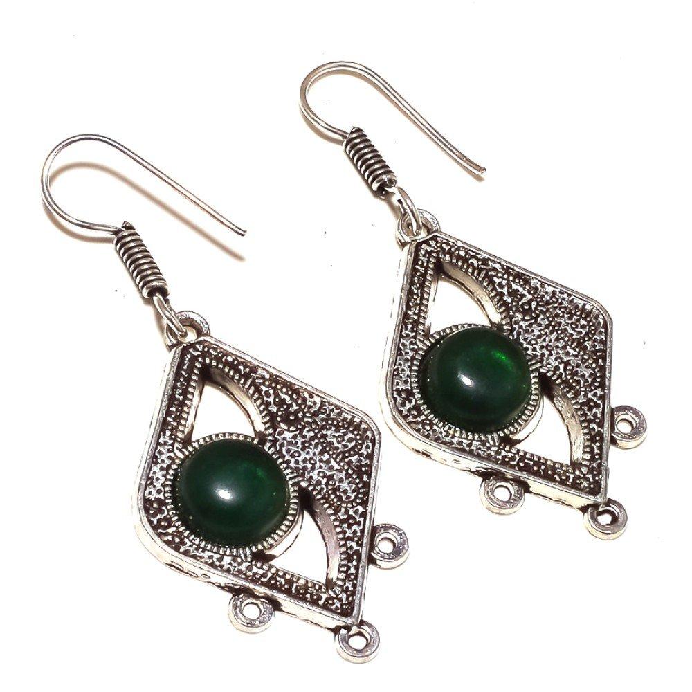 Handmade Green Quartz Sterling Silver Overlay 12 Grams Earring 2.25 Antique Look