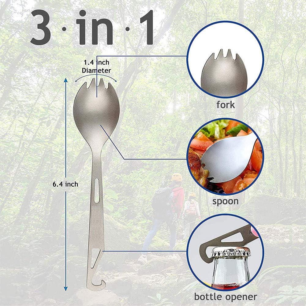 MEISI Utensile da Campeggio 3 in 1,Spork Spoon in Titanio,Spork Titanio a Manico Lungo,con Coltello Apribottiglie Forchetta Apribottiglie,Cucchiaio,Forchetta e Apribottiglie per Viaggi//Campeggio