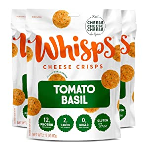 Whisps Tomato Basil Cheddar Cheese Crisps   Back to School Snack, Keto Snack, Gluten Free, Sugar Free, Low Carb, High Protein   2.12oz (3 Pack)