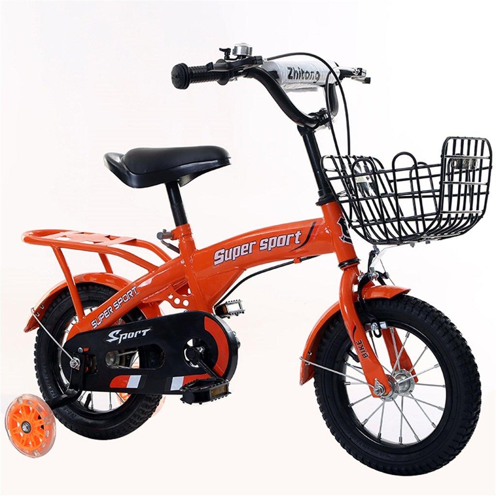 子供の自転車12|14|16|18インチ屋外の子供赤ちゃんキッドマウンテンバイクフラッシュトレーニングホイールで3-9歳の男の子の女の子のギフト|アイアンバスケット|バックシートセーフオレンジ B078GLVV82 14 inches