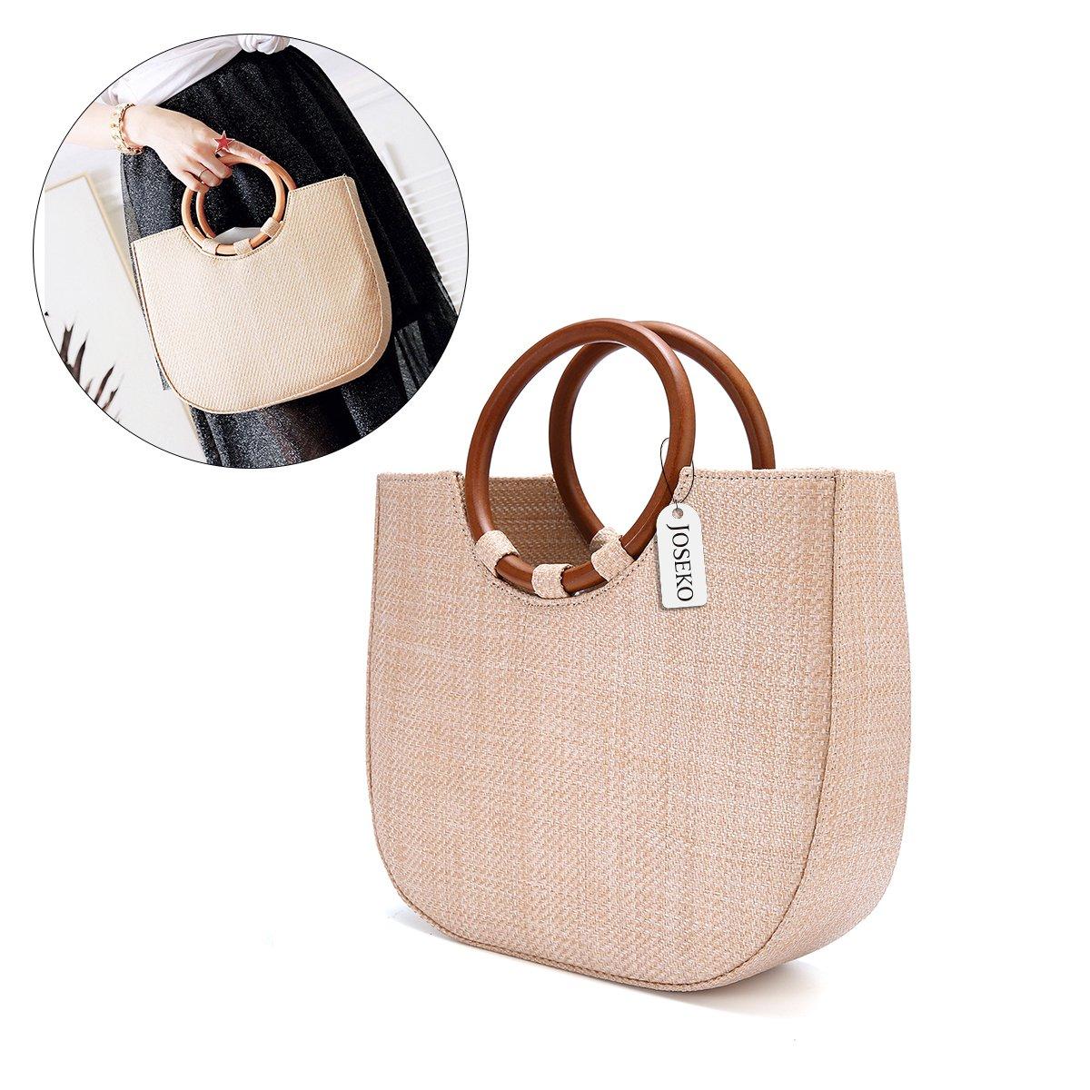 Summer Beach Bag, JOSEKO Womens Straw Handbag Straw Shoulder Bag for Beach Travel and Everyday Use Khaki 11.4''L x 3.5''W x 9.8''H
