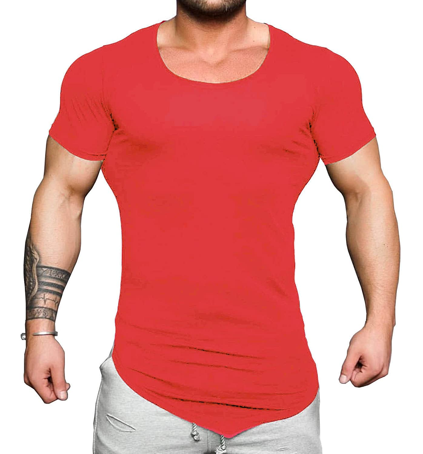 Coofandy Men's Bodybuilding Muscle Training Short Sleeve gym Workout Fitness T shirt