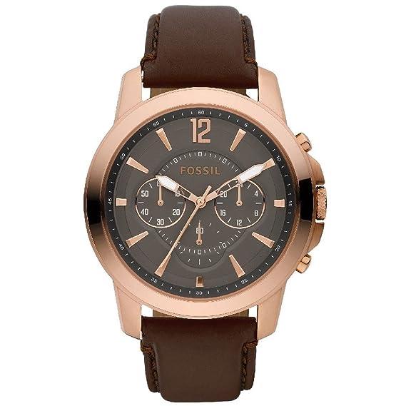 Fossil FS4648 - Reloj analógico de cuarzo para hombre con correa de piel, color marrón: Fossil: Amazon.es: Relojes