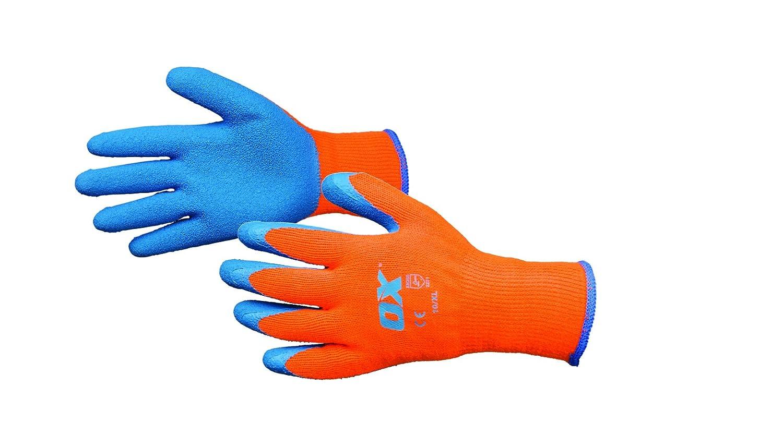 OX Thermal Grip Work Gloves – Waterproof Safety Gloves – Freezer Gloves – Gardening Gloves – Orange/Beige, Size – 9/Large Size - 9/Large OX Tools UK OX-S248609