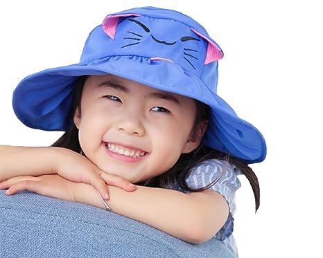 Cute Cat Kids Anti-UV Sun Hat Foldable Visor Hat Children Bucket Hat Wide  Brim 36ffc8d6d2d