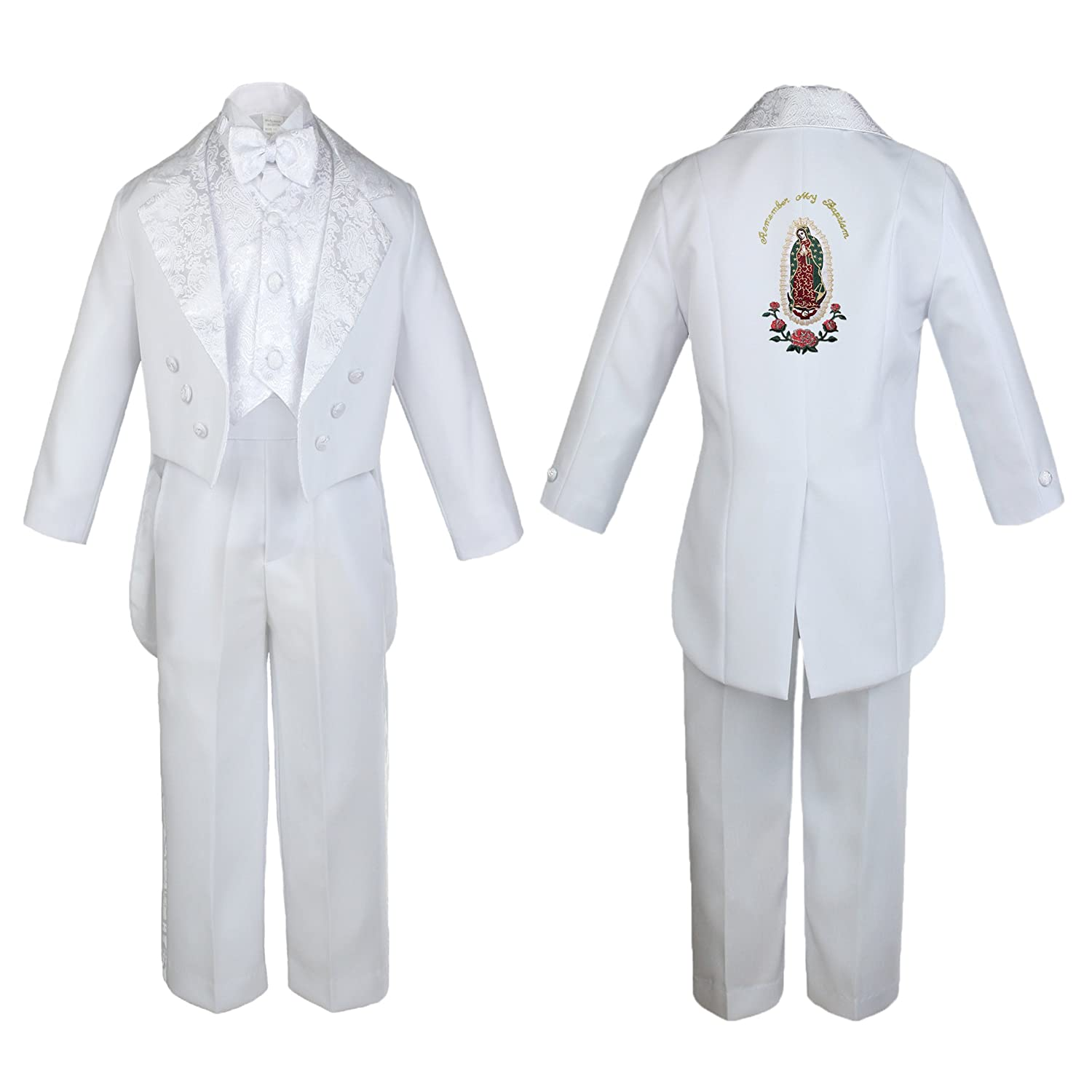 New Baby Boy Christening Formal White Tail Suit Gold Virgin Mary on Back SM-20