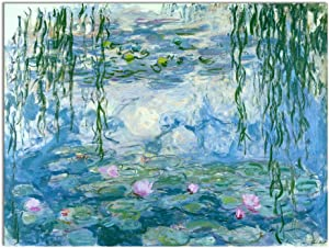 Wieco Art Water Lilies Floral Canvas Prints Wall Art by Claude Monet Famous Oil Paintings Flowers Reproduction for Kitchen Bedroom Bathroom Home Decor Modern Classic Landscape Pictures Giclee Artwork