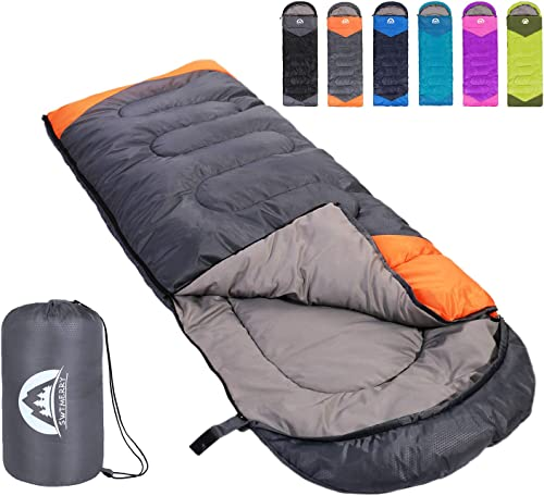 SWTMERRY Sleeping Bag 3 Seasons Summer, Spring, Fall Warm Cool Weather - Lightweight,Waterproof Indoor Outdoor Use for Kids, Teens Adults for Hiking and Camping