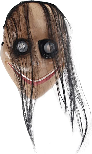 Halloween Costume Party Props molezu Creepy Mask Scary Challenge Games Evil Latex Mask with Long Hair